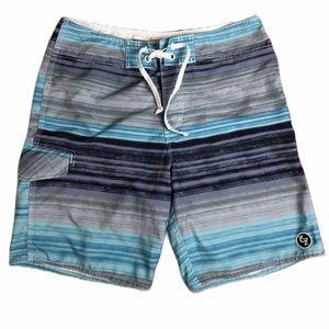EZEKIAL Swim Shorts Trunks Blue & Gray Stripes